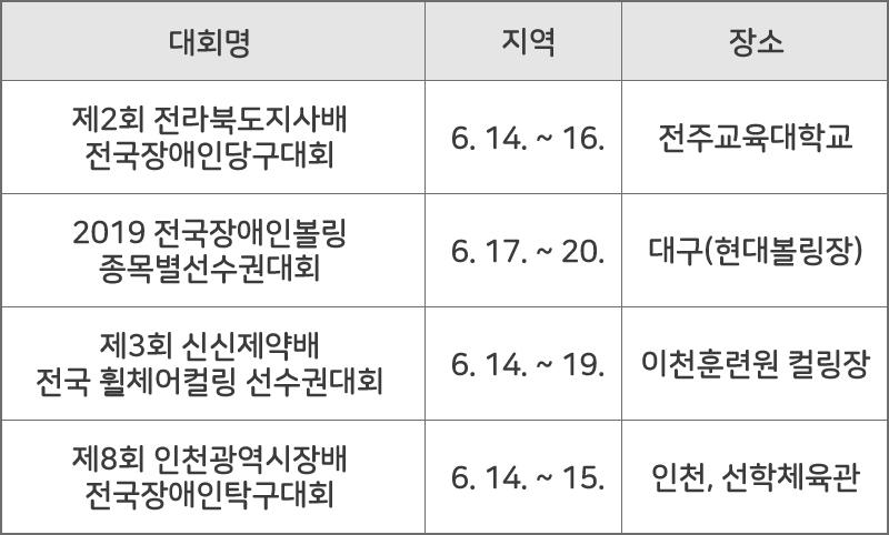 장애인체육 종목별 국내대회 개최 현황